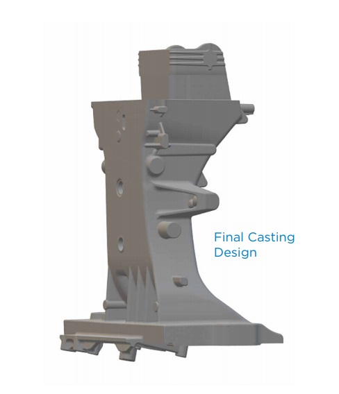 final casting design for a Waupaca Foundry tractor steering column support