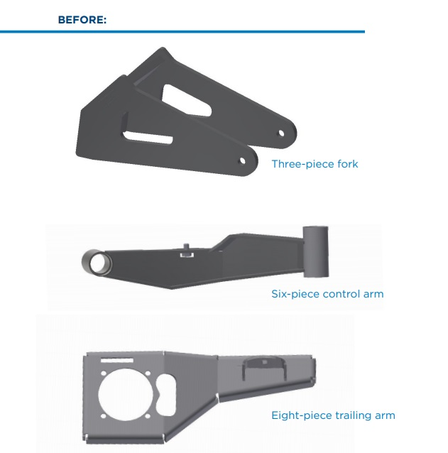 original steel weldments for a lawmower including a three-piece fork, six-piece control arm, and eight-piece trailing arm